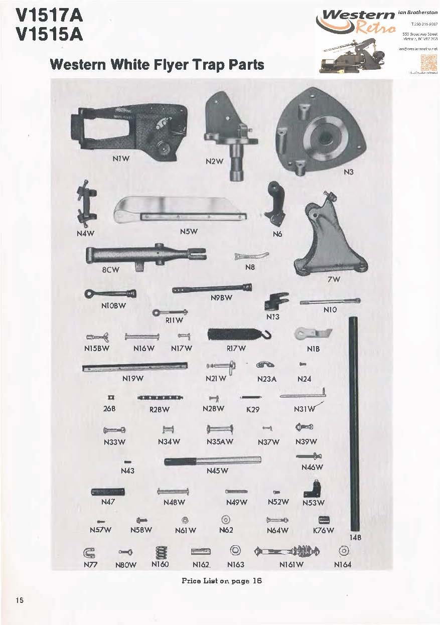 Parts List for V1517A V1515A Trap